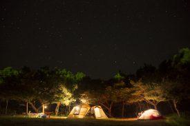 里でキャンプの写真
